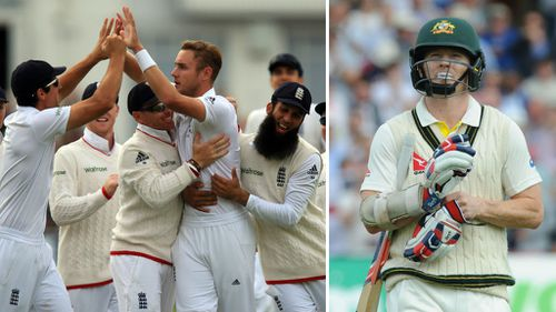 Stuart Broad snared 8/15 as the Aussies were routed for just 60. (AAP)