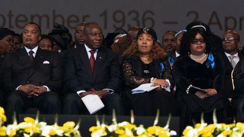 South African president Cyril Ramaphosa, Republic of Congo president Denis Sassou Nguesso and Zinzdi Mandela and Zenani Mandela, daughters of Winnie Madikizela-Mandela. (EPA)