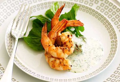 Barbecue prawn salad