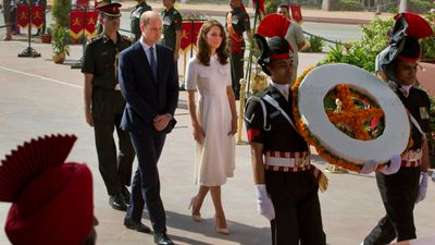 <p>The Duke and Duchess follow a wreath-laying party at the India Gate war memorial in New Delhi, on day two of their tour. </p><p>The memorial is dedicated to Indian regiments who served in World War I.</p>