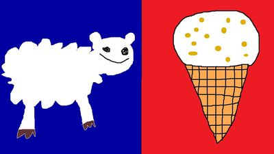 "<p>""This design represents all of NZ because we have lots of sheep and love hokey pokey ice cream. I even included the blue and red to keep all of you naysayers happy. Kiwi as bro.""</p> <p>Sheep and Hokey Pokey by Jesse Gibbs from Canterbury. (NZ Government)</p>"