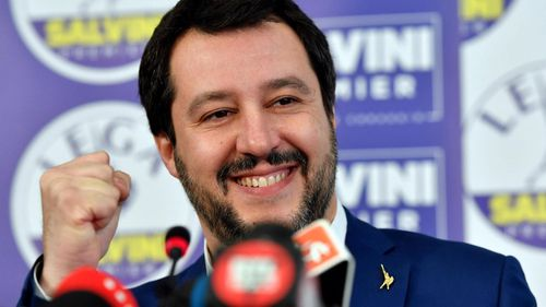 Secretary of Italian party 'Lega' (League), Matteo Salvini after his party's strong showing. (AP).