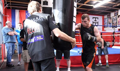 Horn trains in Las Vegas ahead of the fight. Picture: AAP