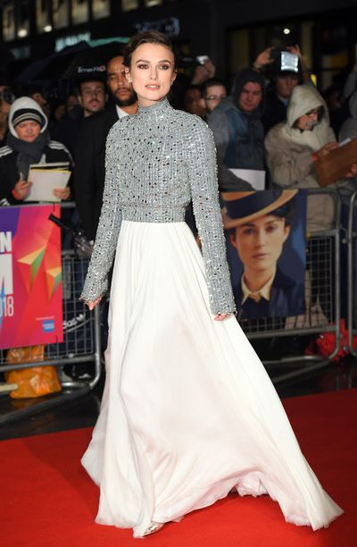 Keira Knightley attends the UK Premiere of 'Colette' and BFI Patrons gala during the 62nd BFI London Film Festival on October 11, 2018 in London, England.