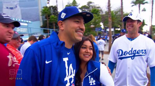 Mr Catalan told the police the night of the murder he was at Dodger Stadium watching a baseball game with his seven-year-old daughter Melissa.