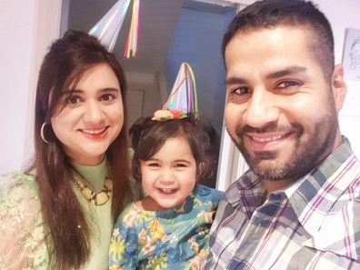 Erum with her daughter Eliza and partner.