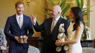 Prince Harry and Meghan Markle with Governor-General Peter Cosgrove at Admiralty House, Tuesday October 16 2018