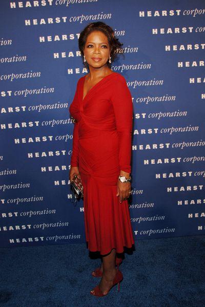 Oprah chanelled her inner dancing emoji in this dazzling red ensemble in 2006.