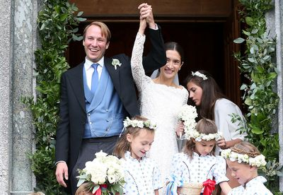 Bridegroom Prince Konstantin of Bavaria and his wife, Bride Princess Deniz of Bavaria born Kaya