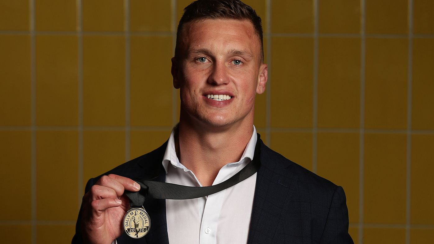 Jack Wighton of the Canberra Raiders poses after winning the Dally M Medal following the Dally M Awards at Fox Sports Studios on October 19, 2020.