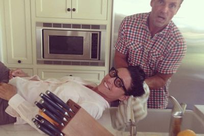 @officialjld: This is how it began yesterday at the kitchen sink. #Emmys2014 #glamour