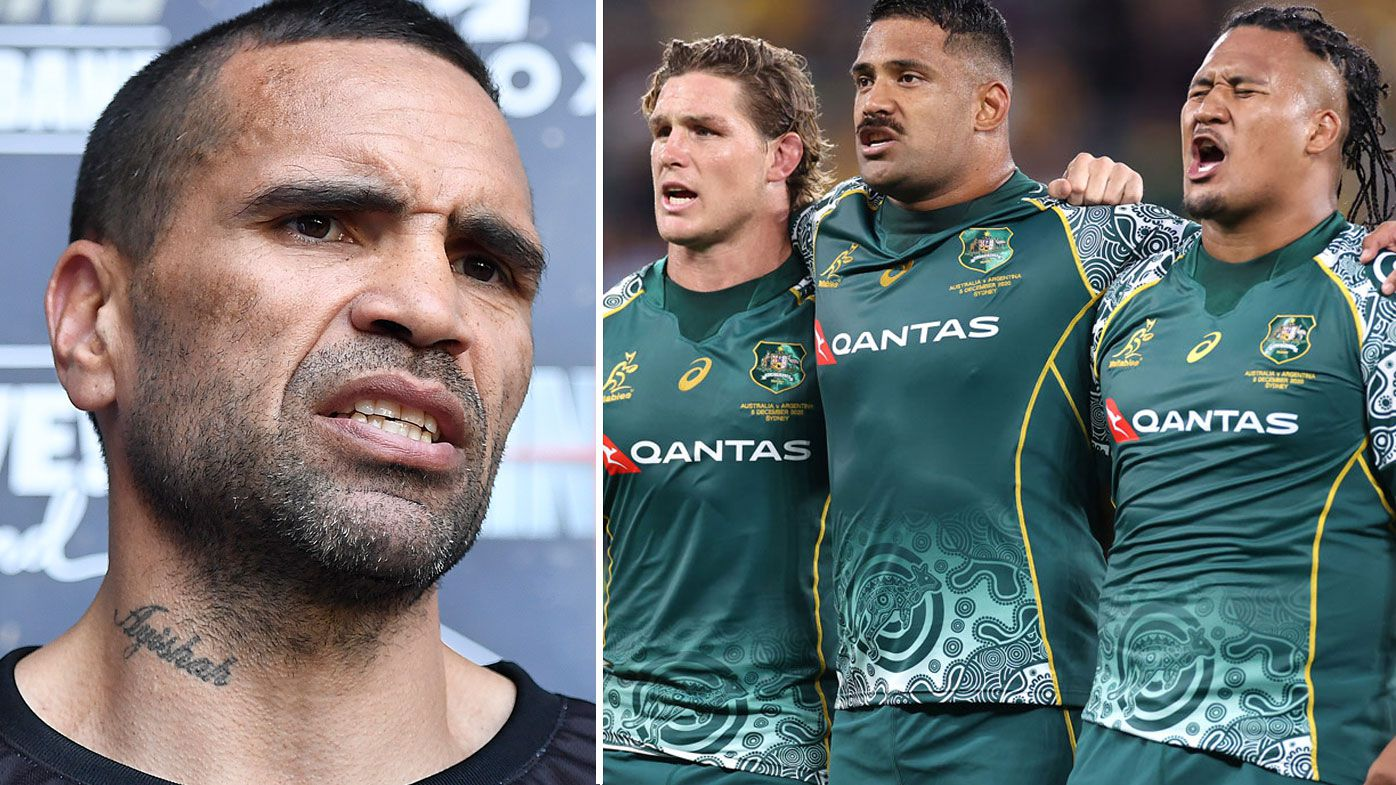 Anthony Mundine has joined Latrell Mitchell in voicing his disapproval over the Wallabies' Eora anthem rendition. (Getty)