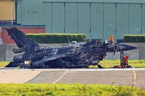 Authorities said no one was injured after the Belgian warplane exploded at the air base.