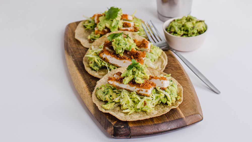 Crumbed chicken tacos
