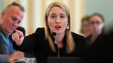 Kate Jones in budget estimates committee hearing. Picture: AAP