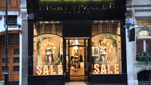 General view of the Rigby & Peller store in Knightsbridge, London. (AAP)