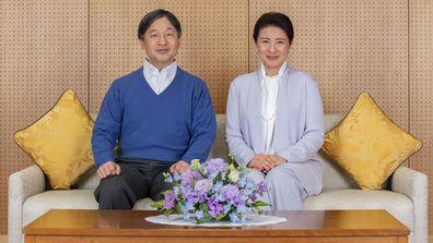Japan's Emperor Naruhito, left, and Empress Masako pose for a photo at Akasaka Palace in Tokyo on Feb. 2, 2021. Naruhito celebrated 61st birthday on Tuesday, Feb. 23, 2021