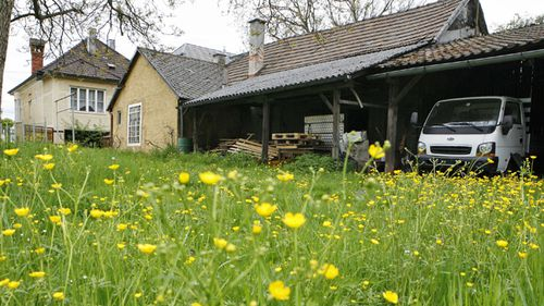 The backyard of a house owned by Josef Fritzl in Amstetten, some 120 kilometers west of Vienna. Josef Fritzl held his daughter Elisabeth captive for 24 years and fatheredg her seven children in his basement