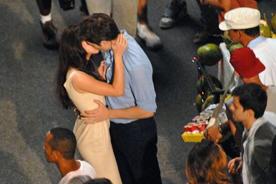 Spotted filming a romantic scene on the set of Breaking Dawn.