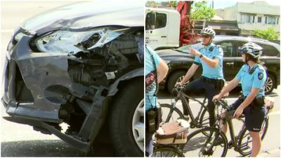 'Panic' after officer on bicycle rammed by 'stolen car'