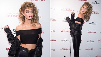 Gigi Hadid channelled her inner Sandy from Grease for the night. (AAP)