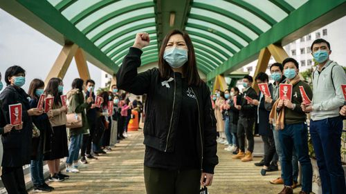 Health workers in Hong Kong protest coronavirus protocols.