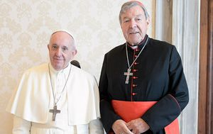 Cardinal George Pell meets with Pope Francis during private audience at the Vatican