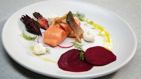 The Butler's confit ocean trout with beetroot and goat cheese