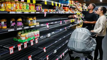 Most pasta and rice sold out at Woolworths Bondi Beach store amid coronavirus panic buying. 16th March 2020.