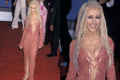 As if her push-up bra, midriff-flash and thigh-high split weren't offensive enough, Christina Aguilera pulled out bazillion braids in 2001. <br/>