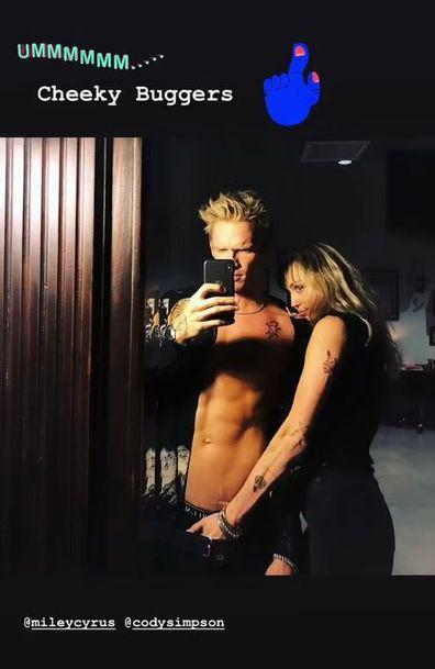 Miley Cyrus, Cody Simpson, Instagram, selfie, crotch