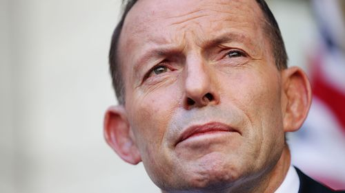 FILE - 26 AUGUST 2020: Ex Australian PM Tony Abbott has been hired by British PM Boris Johnson to become President of the UK's Board of Trade. He will hold the title jointly with UK Trade Secretary Liz Truss. CANBERRA, AUSTRALIA - SEPTEMBER 15:  Tony Abbott makes his final statement to the media as Prime Minister at Parliament House on September 15, 2015 in Canberra, Australia. Tony Abbott lost the Liberal leadership ballot last night, defeated by Malcolm Turnbull 54-44. Malcolm Turnbull will no