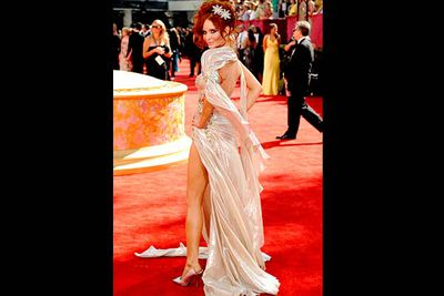 """<b>Where she wore it:</b> The 61st Annual Primetime Emmy Awards, 2009.<br/><br/><b>The look:</b> Phoebe's official website reckons she's an """"actress and model"""", though — like Courtney Peldon — she's really just one of those famous-for-being-famous wannabes. She's been to the Emmys a couple of times, and this undersea-zombie-bride look was her worst."""