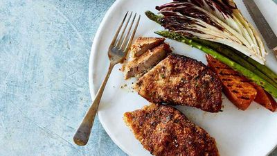 "Recipe: <a href=""http://kitchen.nine.com.au/2016/07/11/13/45/herb-panko-and-parmesan-crusted-lamb-chump-chops"" target=""_top"">Herb, panko and Parmesan crusted lamb chump chops with chargrilled vegetables</a>"