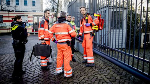Emergency services near the International Criminal Tribunal for the former Yugoslavia. (AAP)