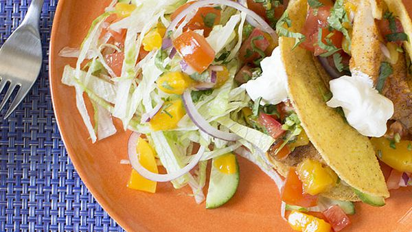 Fish tacos with Mexican salad and mango salsa