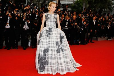 Diane's enormous structured Christian Dior divided fashion police. Is she hiding boyfriend Joshua Jackson under there?