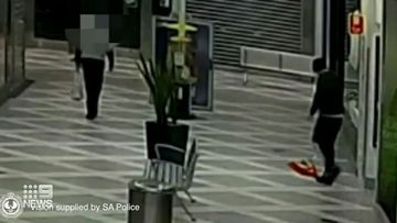 CCTV footage shows Penning leaving the scene after stabbing Ms Ferguson multiple times with a 30cm kitchen knife.
