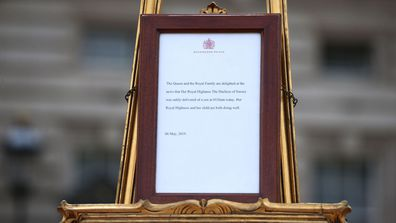 A notice placed on an easel in the forecourt of Buckingham Palace in London to formally announce the birth of a baby boy to the Duke and Duchess of Sussex