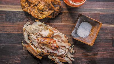 """Recipe: <a href=""""http://kitchen.nine.com.au/2017/08/30/08/17/barbecue-chicken-with-skin-cracklins-and-north-carolina-sauce"""" target=""""_top"""" draggable=""""false"""">Barbecue chicken with skin cracklins</a>"""
