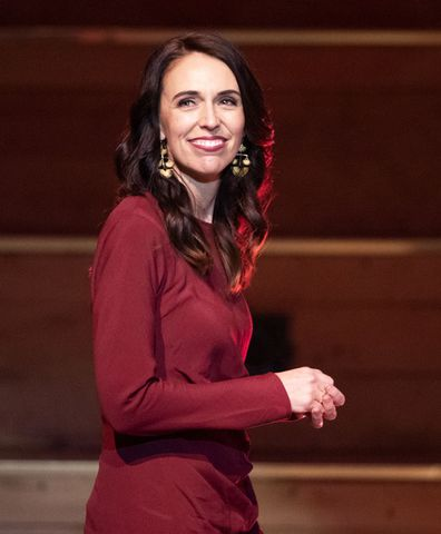 New Zealand Prime Minister Jacinda Ardern walks onto the stage to give her victory speech to Labour Party members at an event in Auckland, New Zealand, Saturday, Oct. 17, 2020.