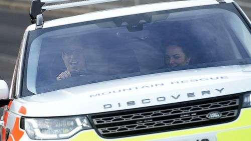 The royal couple took it in turn to drive the Land Rover Discovery. (AAP)