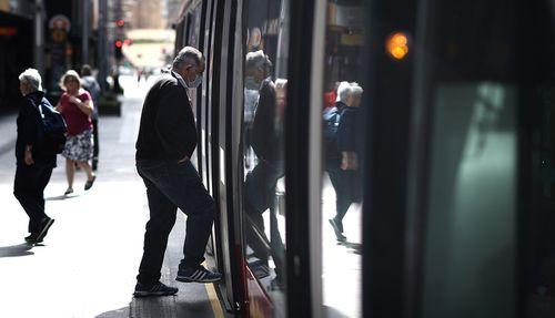 Light Rail passengers are seen wearing face masks in Sydney CBD on September 02, 2020 in Sydney, Australia.