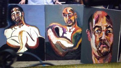 Myuran Sukumaran's signed self-portraits: 'A bad night's sleep', which were produced this week. (9NEWS)