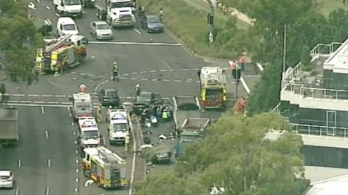 It is believed one person remains trapped. (9NEWS Choppercam)