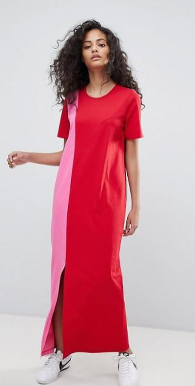 "<a href="" http://www.asos.com/au/asos/asos-ultimate-t-shirt-maxi-dress-in-colour-block/prd/9032225?xaffid=11148&amp;r=1"" target=""_blank"">ASOS Ultimate T-Shirt Maxi Dress In Colour Block</a>, $28.50"