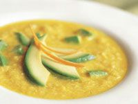 Corn soup with avocado