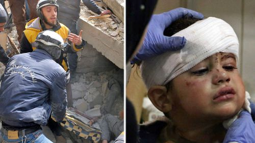 White Helmet volunteers pull a survivor from the rubble and, right, a child is treated at a hospital in part of rebel-held Damascus. (Photos: AP).