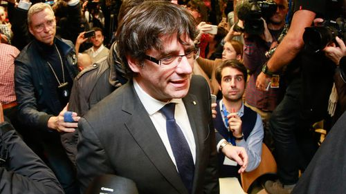 Carles Puigdemont addresses the media in Brussels. (AAP)