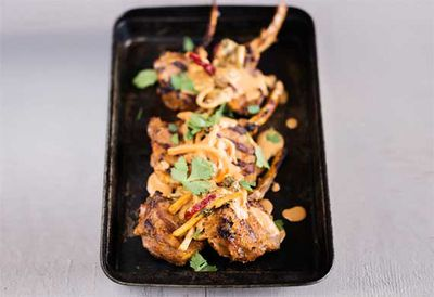 Grilled lamb with red curry sauce